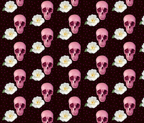 Purples Skulls and White Flowers  fabric by juliescreations on Spoonflower - custom fabric