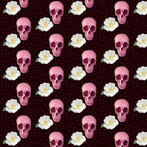 Purples Skulls and White Flowers