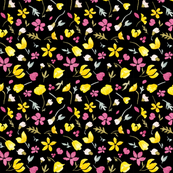 Tundraberry Arctic Florals Pattern Black-01