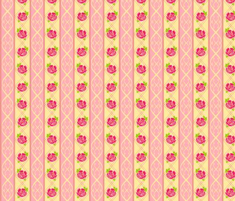 Rose Pattern Stripe Pink 3a fabric by karwilbedesigns on Spoonflower - custom fabric