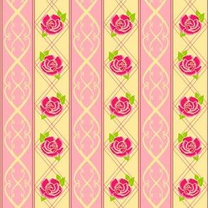 Rose Pattern Stripe Pink 3a