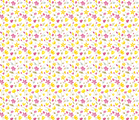 Tundraberry Arctic Florals Pattern Petite White-01 fabric by tundraberry on Spoonflower - custom fabric