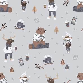 Hipster Woodland - Dark Grey