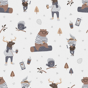 Hipster Woodland - Light Grey