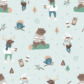 Hipster Woodland - Mint