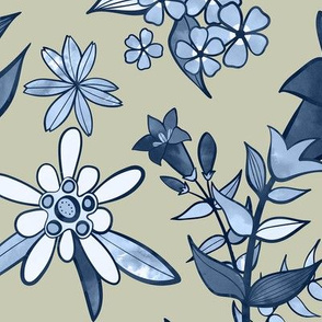 Monochrome Tan and Blue Alpine Flora / Large Scale