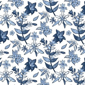 Monochrome Blue Alpine Flora / Small Scale