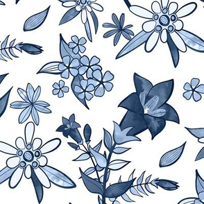 Monochrome Blue Alpine Flora