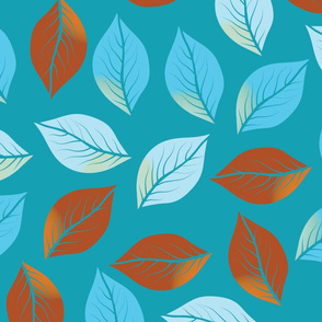 Autumn Leaves Blue Brown (middle scale)