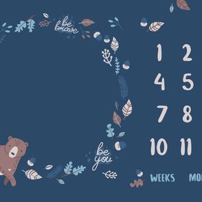 54x36'' Bear - Milestone Blanket - Navy
