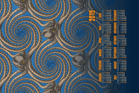 ★ 2019 : YEAR OF THE KRAKEN ! ★ Tea Towel Calendar -Blue / Collection : Kraken ' Roll – Steampunk Octopus Print fabric by borderlines on Spoonflower - custom fabric