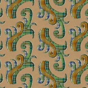 Plaid Fern Scrolls with 3D illusion