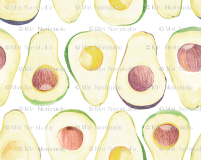 avocado pattern in white
