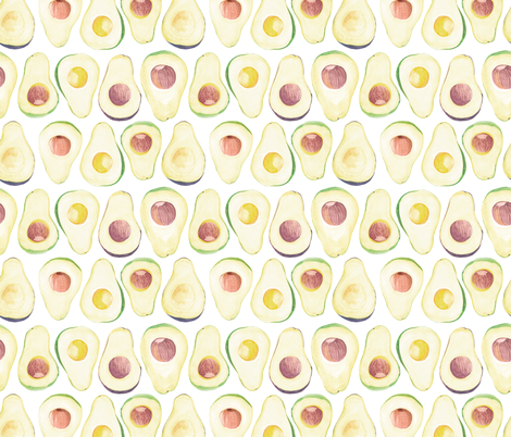 avocado pattern in white  fabric by noristudio on Spoonflower - custom fabric