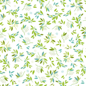 White repeat pattern with green leaves.