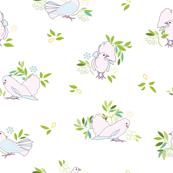 White pink dove garden aviary pattern