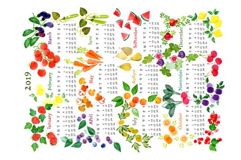 Teatowel 2019 Fruits and Veggies fabric by honey_gherkin on Spoonflower - custom fabric