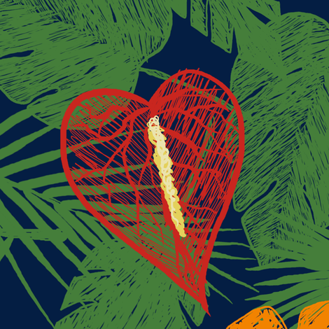 Sketched Tropical - Navy fabric by amber_morgan on Spoonflower - custom fabric