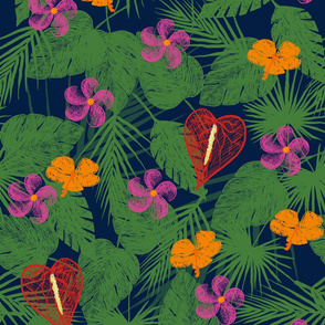 Sketched Tropical - Navy