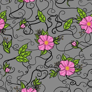 Pink Floral Pattern- gray
