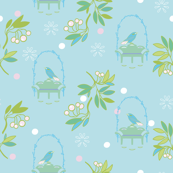 Light blue bird & bench garden aviary pattern
