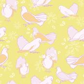 Yellow rosé doves garden aviary pattern