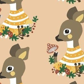 fawn and mushroom