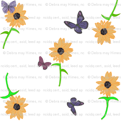 Butterflies in my Garden  of Sunflowers