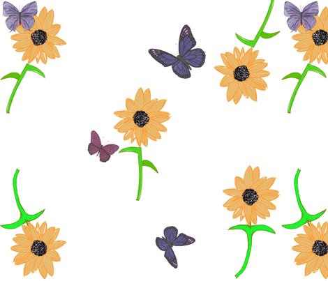 Butterflies in my Garden  of Sunflowers fabric by debra_may_himes,_asid on Spoonflower - custom fabric
