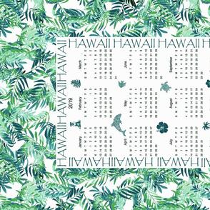 Hawaiian 2019 Calendar with Palm Leaves