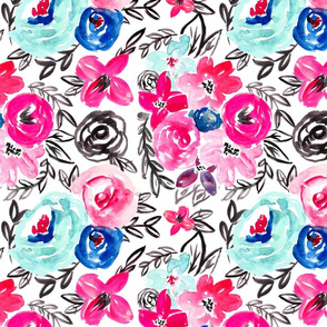Pop of Blue Pink Watercolor Florals