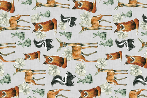 Woodland Pals with Flowers - Rotated fabric by taraput on Spoonflower - custom fabric