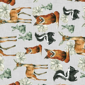 Woodland Pals with Flowers - Rotated