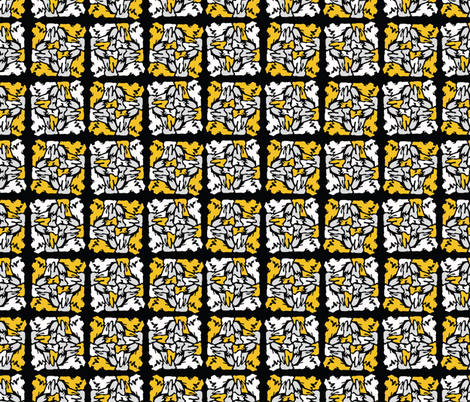 Yellow and Black Stained Glass Geometric Mosaic fabric by limolida on Spoonflower - custom fabric