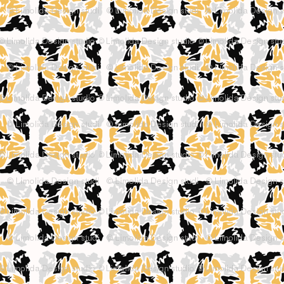 Yellow and Black Abstract Geometric Shape Grid