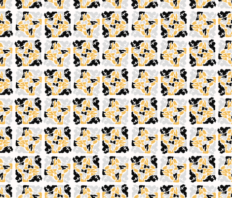 Yellow and Black Abstract Geometric Shape Grid fabric by limolida on Spoonflower - custom fabric