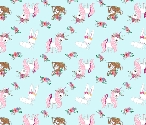 unicorn deer bunny fabric by evirose_designs on Spoonflower - custom fabric
