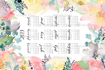 Soft Florals 2019 Calendar Tea Towel