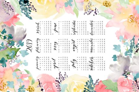 Soft Florals 2019 Calendar Tea Towel fabric by sweetgrasspaperco on Spoonflower - custom fabric