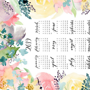 Soft Florals 2019 Calendar Tea Towel
