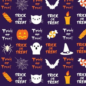 Trick or Treat Halloween in Purple
