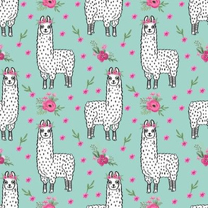 llama floral crown fabric // llamas, alpaca, animals, girls, baby, nursery, sweet animals by andrea lauren - mint