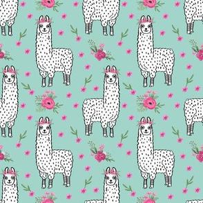 llama floral crown fabric // llamas, alpaca, animals, girls, baby, nursery, sweet animals by andrea lauren - mint