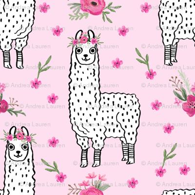 llama floral crown fabric // llamas, alpaca, animals, girls, baby, nursery, sweet animals by andrea lauren - pink