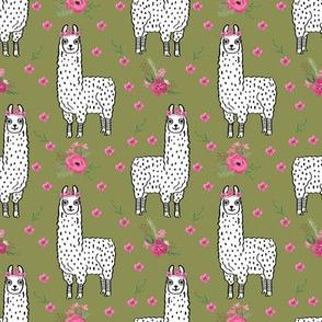 llama floral crown fabric // llamas, alpaca, animals, girls, baby, nursery, sweet animals by andrea lauren - green
