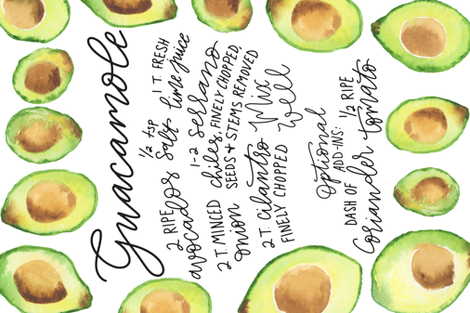 Guacamole Recipe Tea Towel fabric by sweetgrasspaperco on Spoonflower - custom fabric