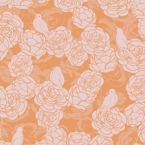 Birds on Roses Pink Orange Pattern
