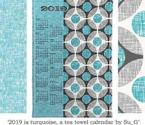 2019 is turquoise, a tea towel calendar by Su_G