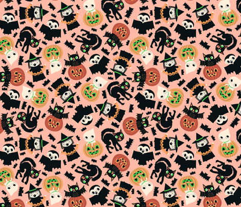 Halloween Friends pink fabric by heidikenney on Spoonflower - custom fabric