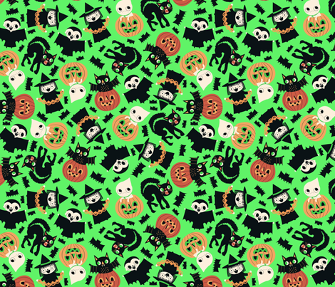 Halloween Friends Green fabric by heidikenney on Spoonflower - custom fabric